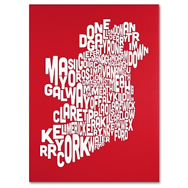 Trademark Fine Art Michael Tompsett 'RED-Ireland Text Map' Canvas Art 18x24 Inches