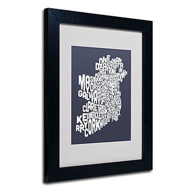Trademark Fine Art Michael Tompsett 'SLATE-Ireland Text Map' Matted Art Black Frame 11x14 Inches