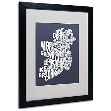 Trademark Fine Art Michael Tompsett 'SLATE-Ireland Text Map' Matted Art Black Frame 16x20 Inches