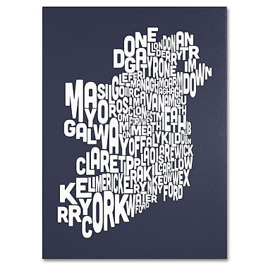 Trademark Fine Art Michael Tompsett 'SLATE-Ireland Text Map' Canvas Art 18x24 Inches