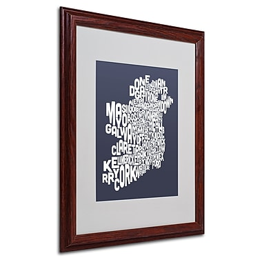 Michael Tompsett 'SLATE-Ireland Text Map' Matted Framed Art - 16x20 Inches - Wood Frame