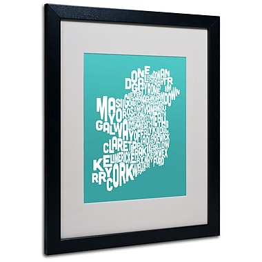 Trademark Fine Art Michael Tompsett 'TURQOISE-Ireland Text Map' Matted Black Frame 16x20 Inches