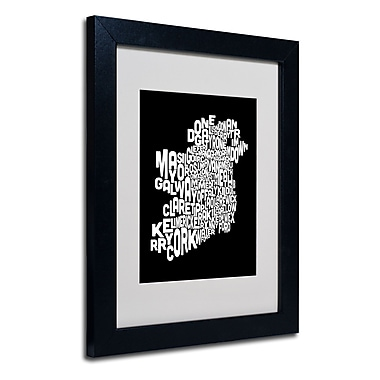 Trademark Fine Art Michael Tompsett 'Ireland Text Map 5' Matted Art Black Frame 11x14 Inches
