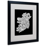 Trademark Fine Art Michael Tompsett 'Ireland Text Map 5' Matted Art Black Frame 16x20 Inches
