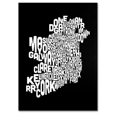 Trademark Fine Art Michael Tompsett 'Ireland Text Map 5' Canvas Art 14x19 Inches