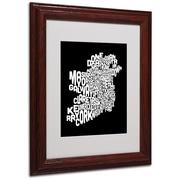 Michael Tompsett 'Ireland Text Map 5' Matted Framed Art - 11x14 Inches - Wood Frame
