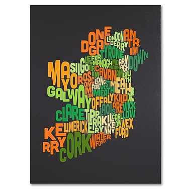Trademark Fine Art Michael Tompsett 'Ireland Text Map 6' Canvas Art