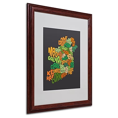 Michael Tompsett 'Ireland Text Map 6' Matted Framed Art - 16x20 Inches - Wood Frame