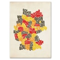 Trademark Fine Art Michael Tompsett 'Germany Region Text Map' Canvas Art 22x32 Inches
