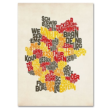 Trademark Fine Art Michael Tompsett 'Germany Region Text Map' Canvas Art 16x24 Inches