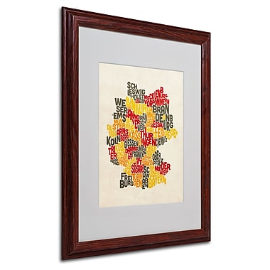 Michael Tompsett 'Germany Region Text Map' Matted Framed Art - 16x20 Inches - Wood Frame