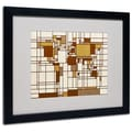 Michael Tompsett 'Mondrian World Map' Matted Framed Art - 11x14 in. - Wood Frame
