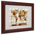 Michael Tompsett 'Mondrian World Map' Matted Framed Art - 16x20 in. Wood Frame