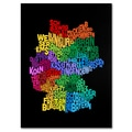 Trademark Fine Art Michael Tompsett 'Germany Region Text Map 3' Canvas Art 22x32 Inches