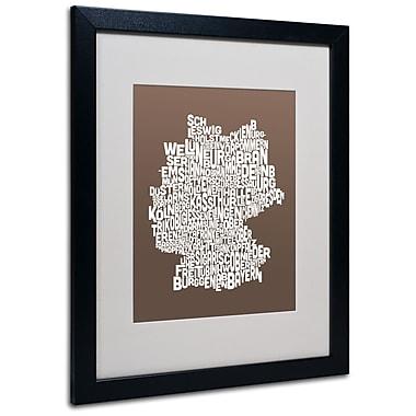 Trademark Fine Art Michael Tompsett 'COFFEE-Germany Regions Map' Matted Black Frame 16x20 Inches