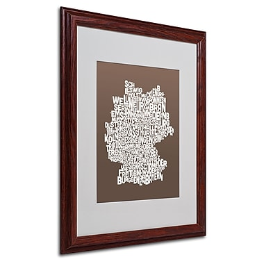 Michael Tompsett 'COFFEE-Germany Regions Map' Matted Framed - 16x20 Inches - Wood Frame