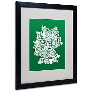 Trademark Fine Art Michael Tompsett 'FOREST-Germany Regions Map' Matted Black Frame 16x20 Inches