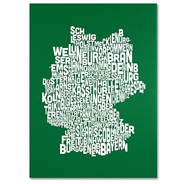 Trademark Fine Art Michael Tompsett 'FOREST-Germany Regions Map' Canvas Art 14x19 Inches