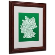 Michael Tompsett 'FOREST-Germany Regions Map' Matted Framed - 11x14 Inches - Wood Frame