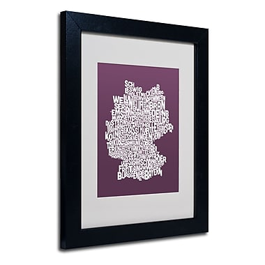 Trademark Fine Art Michael Tompsett 'MULBERRY-Germany Regions Map' Black Frame 11x14 Inches