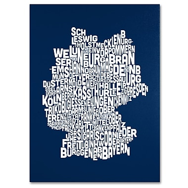 Trademark Fine Art Michael Tompsett 'NAVY-Germany Regions Map' Canvas Art 30x47 Inches