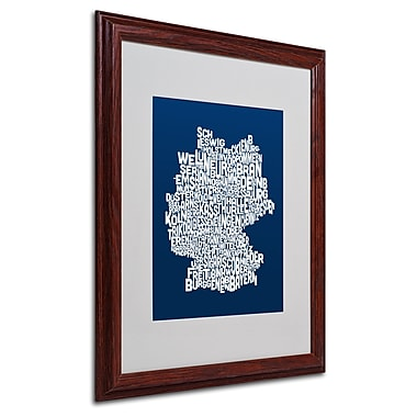 Michael Tompsett 'NAVY-Germany Regions Map' Matted Framed - 16x20 Inches - Wood Frame