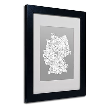 Trademark Fine Art Michael Tompsett 'NEUTRAL-Germany Regions Map' Matted Black Frame 11x14 Inches