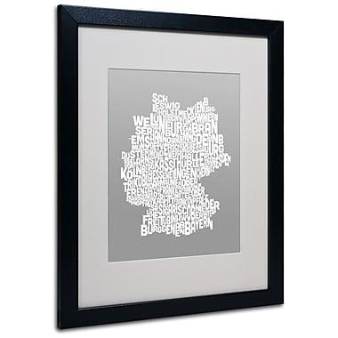 Trademark Fine Art Michael Tompsett 'NEUTRAL-Germany Regions Map' Matted Black Frame 16x20 Inches