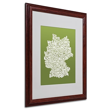 Michael Tompsett 'OLIVE-Germany Regions Map' Matted Framed - 16x20 Inches - Wood Frame