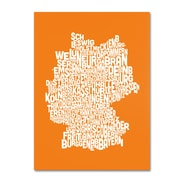 Trademark Fine Art Michael Tompsett 'ORANGE-Germany Regions Map' Canvas Art 14x19 Inches