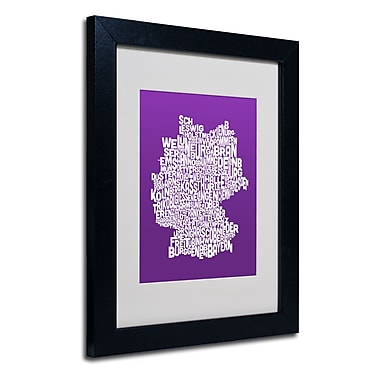 Trademark Fine Art Michael Tompsett 'PURPLE-Germany Regions Map' Matted Black Frame 11x14 Inches