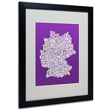 Trademark Fine Art Michael Tompsett 'PURPLE-Germany Regions Map' Matted Black Frame 16x20 Inches