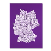 Trademark Fine Art Michael Tompsett 'PURPLE-Germany Regions Map' Canvas Art 22x32 Inches