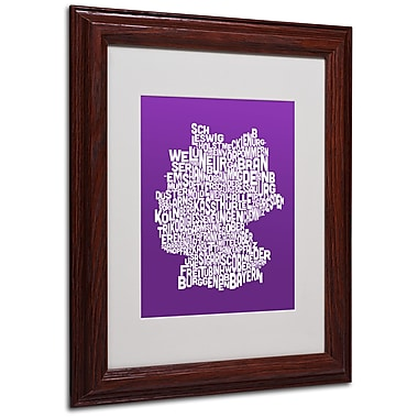 Michael Tompsett 'PURPLE-Germany Regions Map' Matted Framed - 11x14 Inches - Wood Frame
