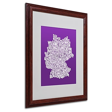 Michael Tompsett 'PURPLE-Germany Regions Map' Matted Framed - 16x20 Inches - Wood Frame