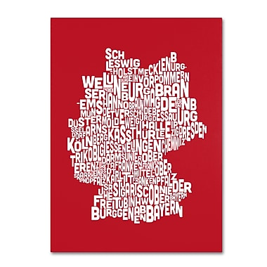 Trademark Fine Art Michael Tompsett 'RED-Germany Regions Map' Canvas Art 30x47 Inches