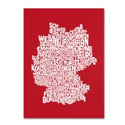 Trademark Fine Art Michael Tompsett 'RED-Germany Regions Map' Canvas Art 14x19 Inches