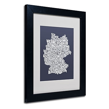 Trademark Fine Art Michael Tompsett 'SLATE-Germany Regions Map' Matted Black Frame 11x14 Inches