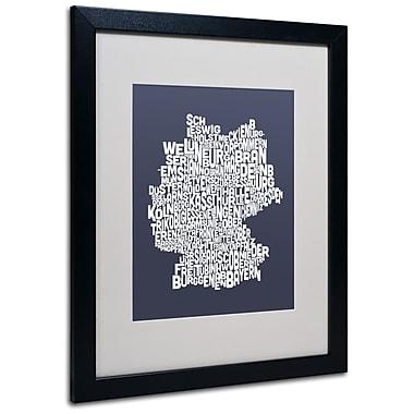Trademark Fine Art Michael Tompsett 'SLATE-Germany Regions Map' Matted Black Frame 16x20 Inches