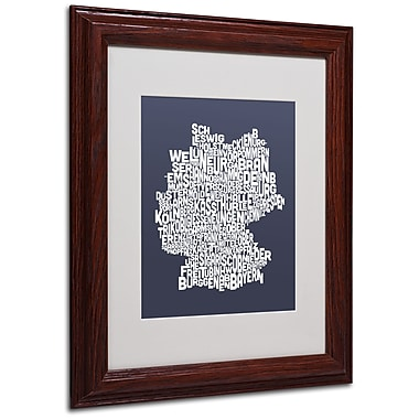 Michael Tompsett 'SLATE-Germany Regions Map' Matted Framed - 11x14 Inches - Wood Frame