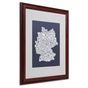 Michael Tompsett 'SLATE-Germany Regions Map' Matted Framed - 16x20 Inches - Wood Frame