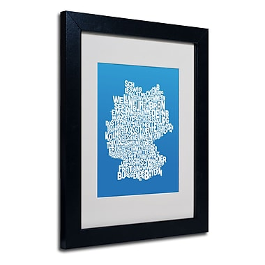 Trademark Fine Art Michael Tompsett 'SUMMER-Germany Regions Map' Matted Black Frame 11x14 Inches