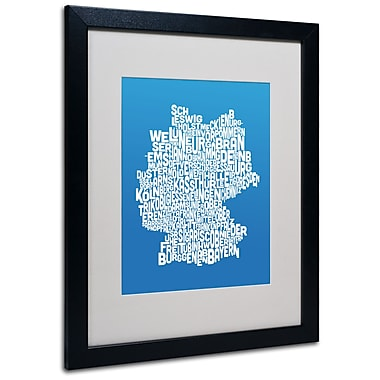 Trademark Fine Art Michael Tompsett 'SUMMER-Germany Regions Map' Matted Black Frame 16x20 Inches