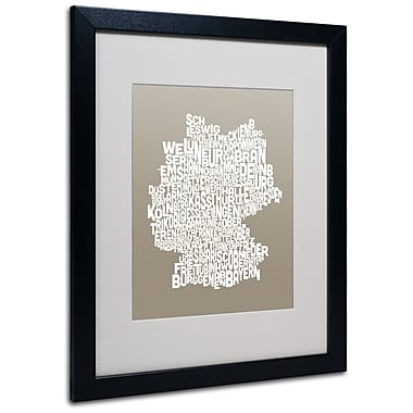 Trademark Fine Art Michael Tompsett 'TAUPE-Germany Regions Map' Matted Black Frame 16x20 Inches