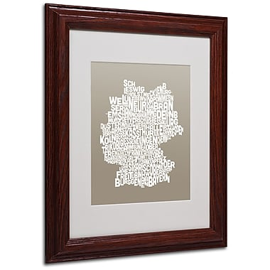 Michael Tompsett 'TAUPE-Germany Regions Map' Matted Framed - 11x14 Inches - Wood Frame