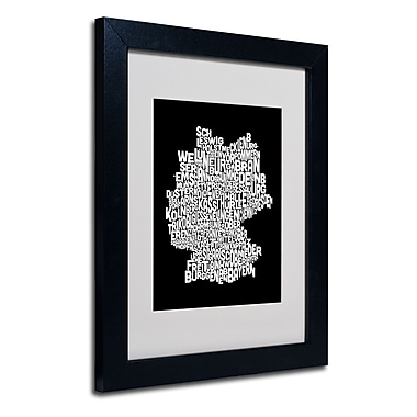 Trademark Fine Art Michael Tompsett 'Germany Regions Map' Matted Art Black Frame 11x14 Inches