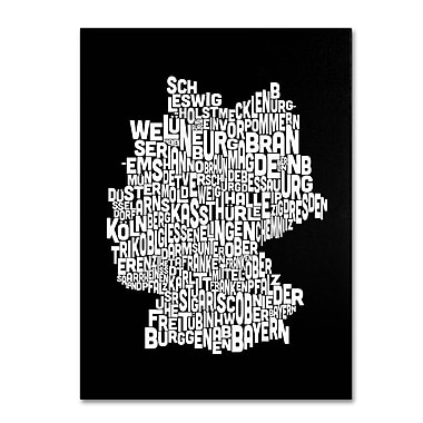 Trademark Fine Art Michael Tompsett 'Germany Regions Map' Canvas Art 22x32 Inches