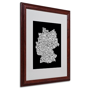 Michael Tompsett 'Germany Regions Map' Matted Framed Art - 16x20 Inches - Wood Frame