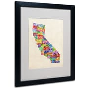 Trademark Fine Art Michael Tompsett 'California Text Map' Matted Art Black Frame 16x20 Inches