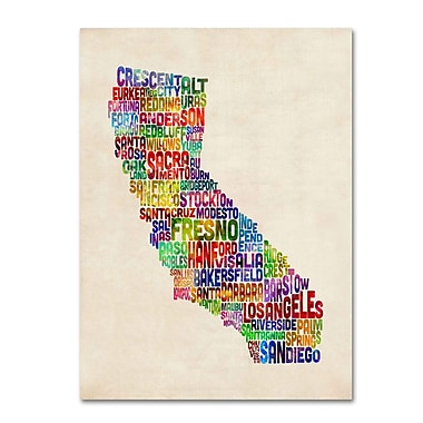 Trademark Fine Art Michael Tompsett 'California Text Map' Canvas Art 14x19 Inches